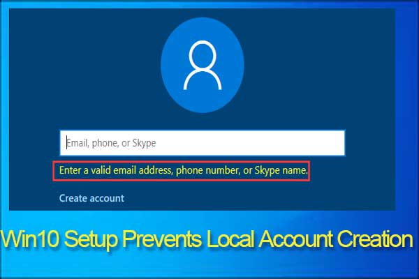 create local account Windows 10