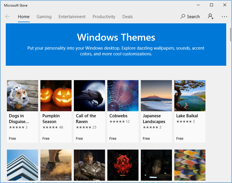 Windows themes in Microsoft Store