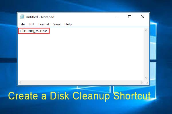 how to create disk cleanup shortcut thumbnail