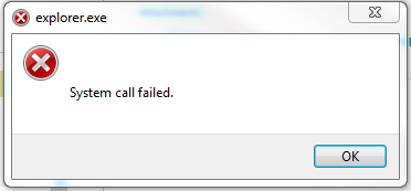 explorerexe system call failed