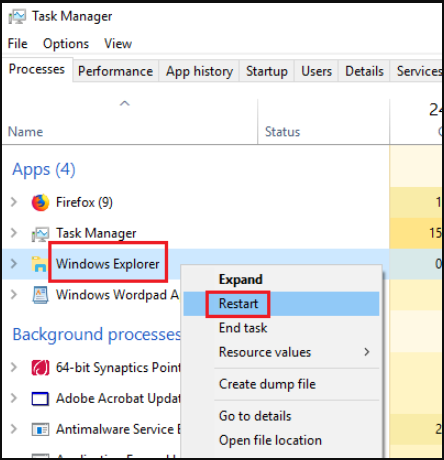 restart your Windows Explorer process