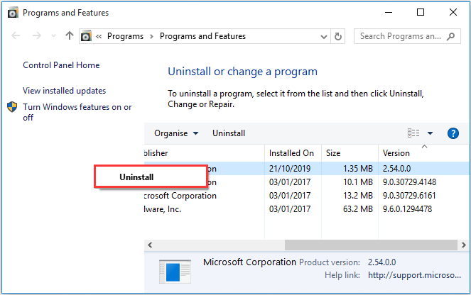 uninstall currently installed a program