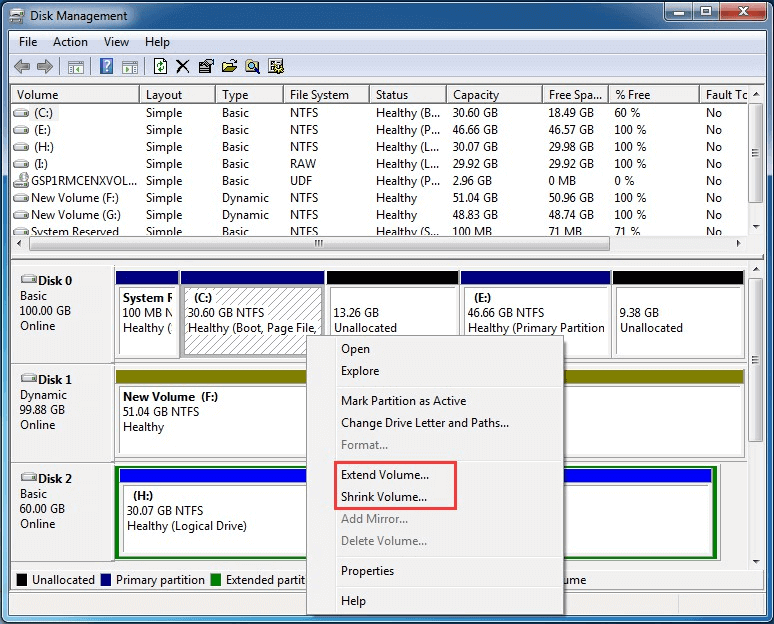 Disk Management extend partition feature