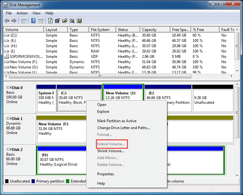 Disk Management extend partition feature greyed out
