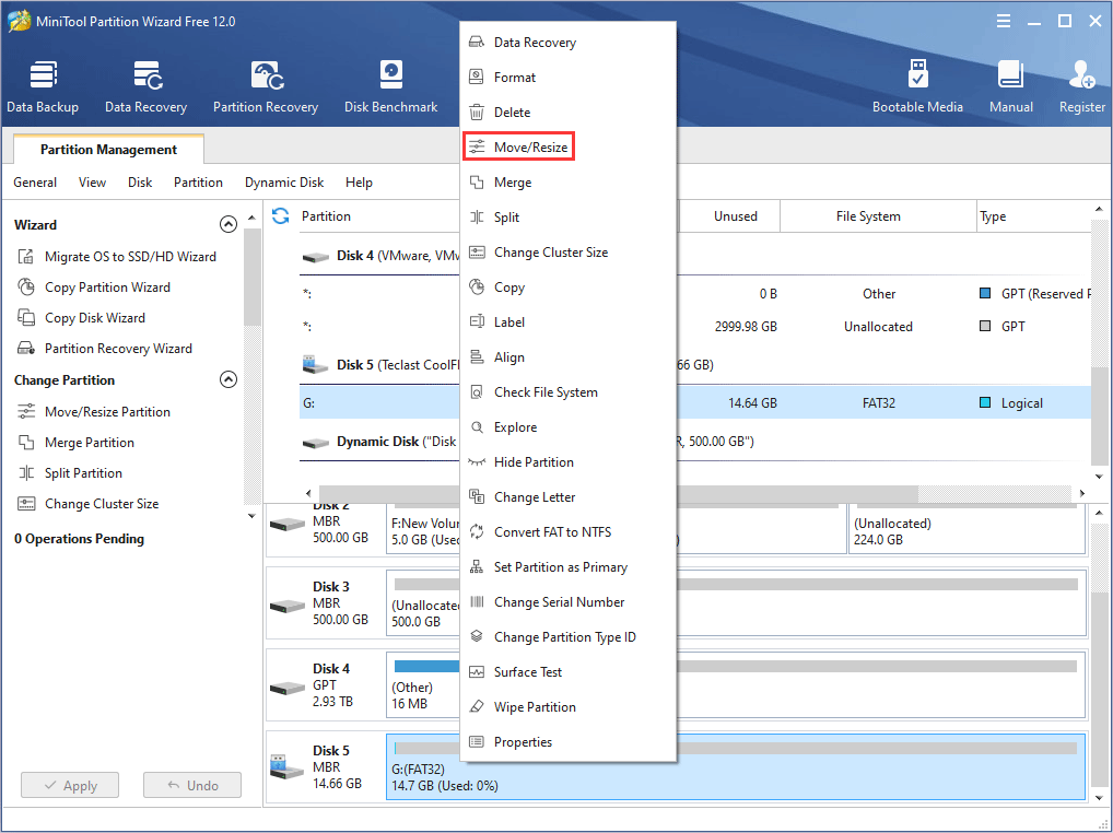 right-click the flash drive partition in MiniTool Partition Wizard