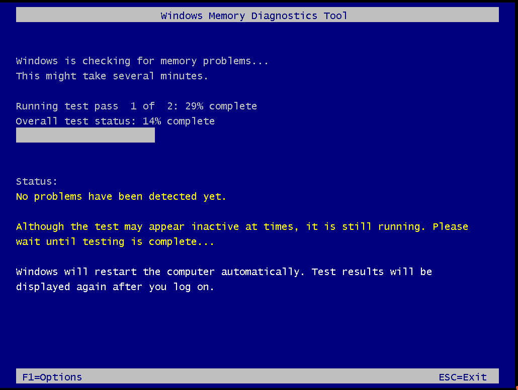 Windows Memory Diagnostic Tool runs automatically