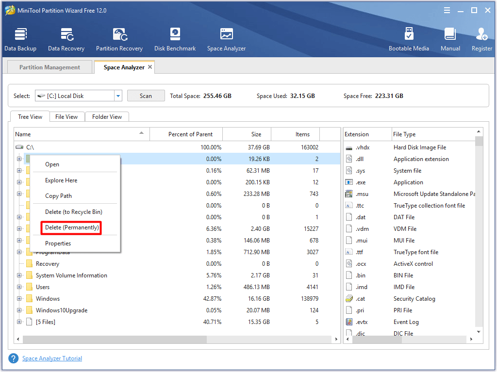 delete space-consuming files or folders to free up disk space