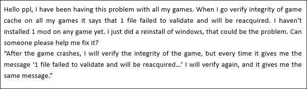 two players ran into 1 file failed to validate and will be reacquired