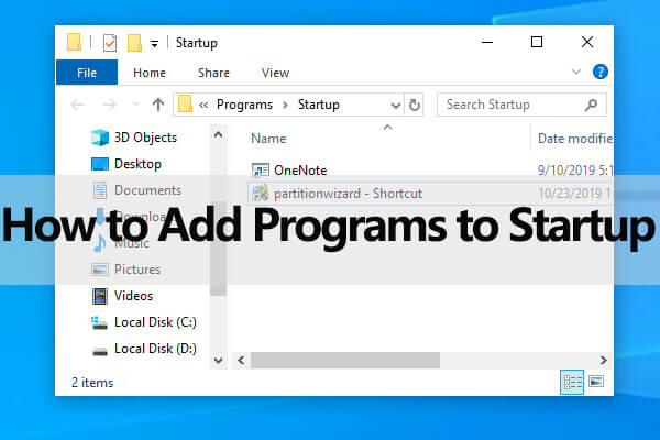 how to add programs to startup