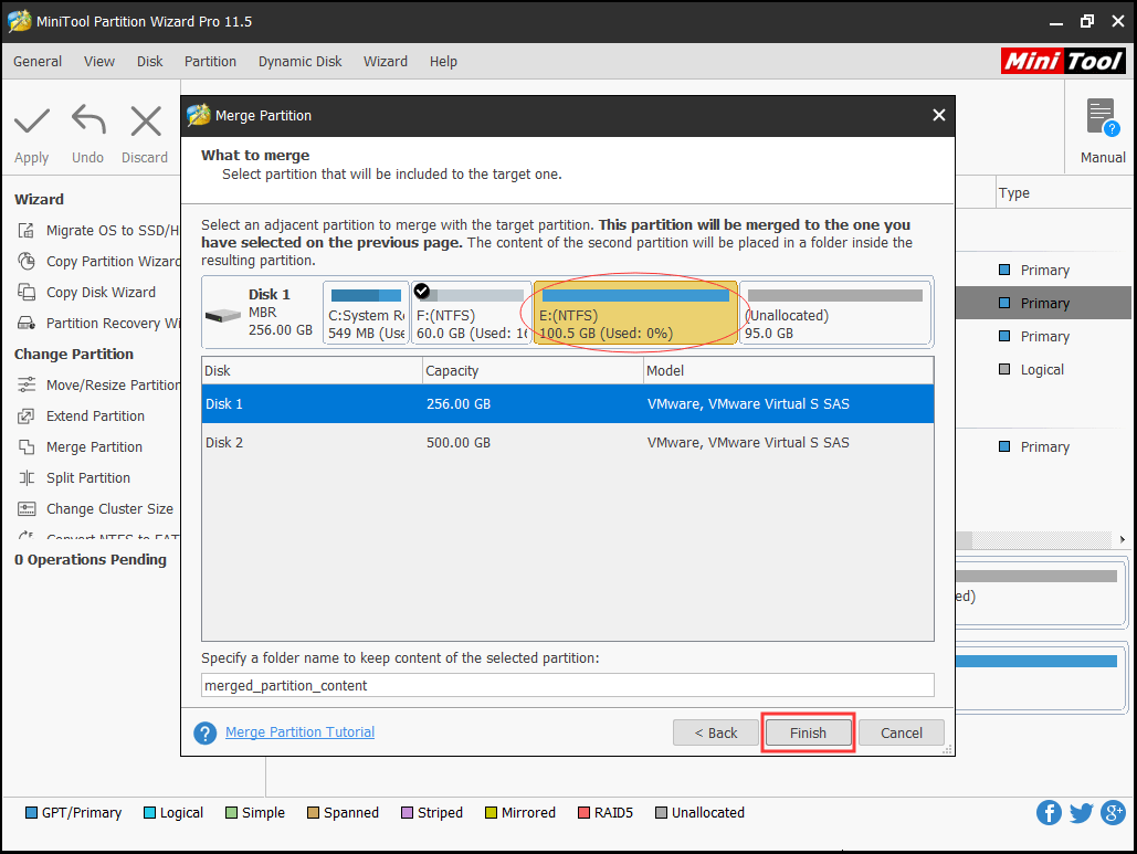 select the partition to be included