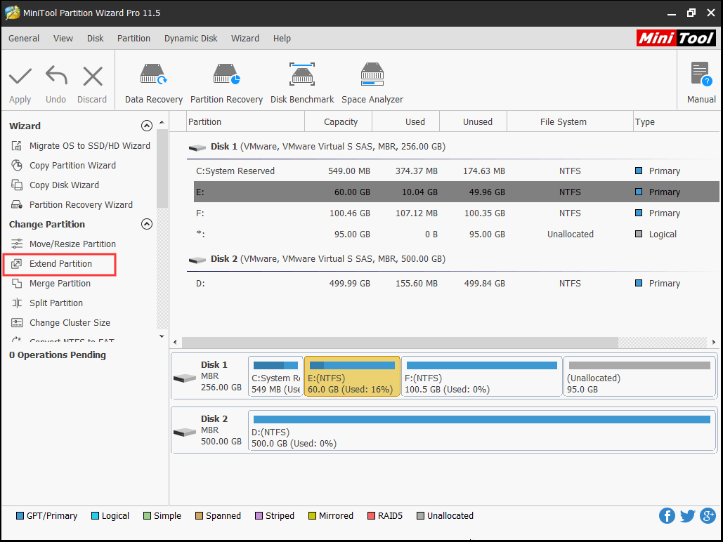 choose Extend Partition of Partition Wizard