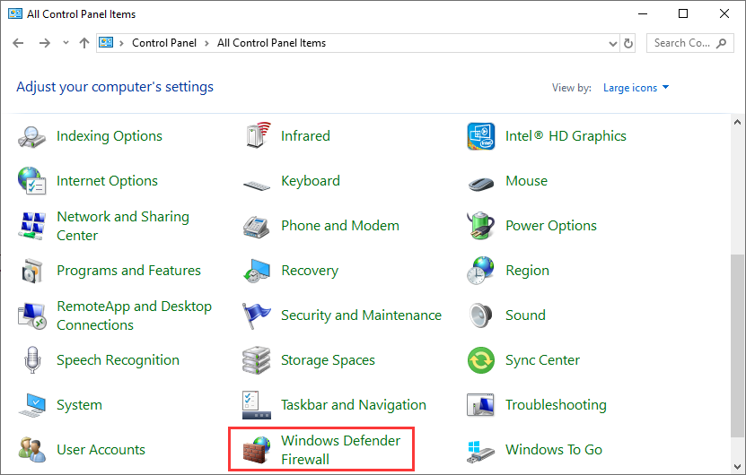 click Windows Defender Firewall