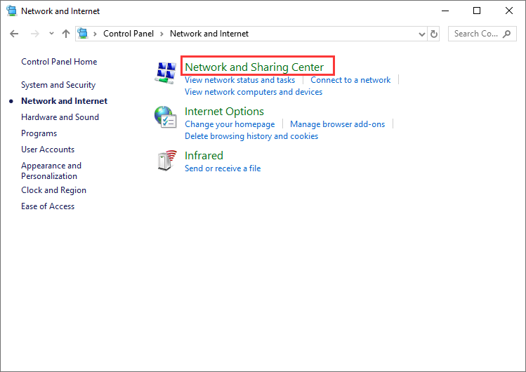 click on Network and Sharing Center