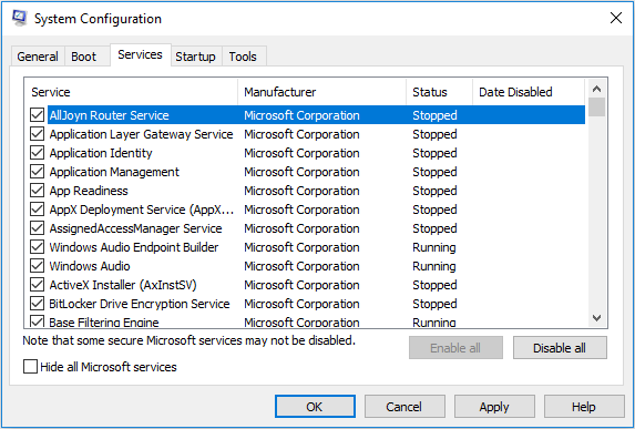Service tab in System Configuration