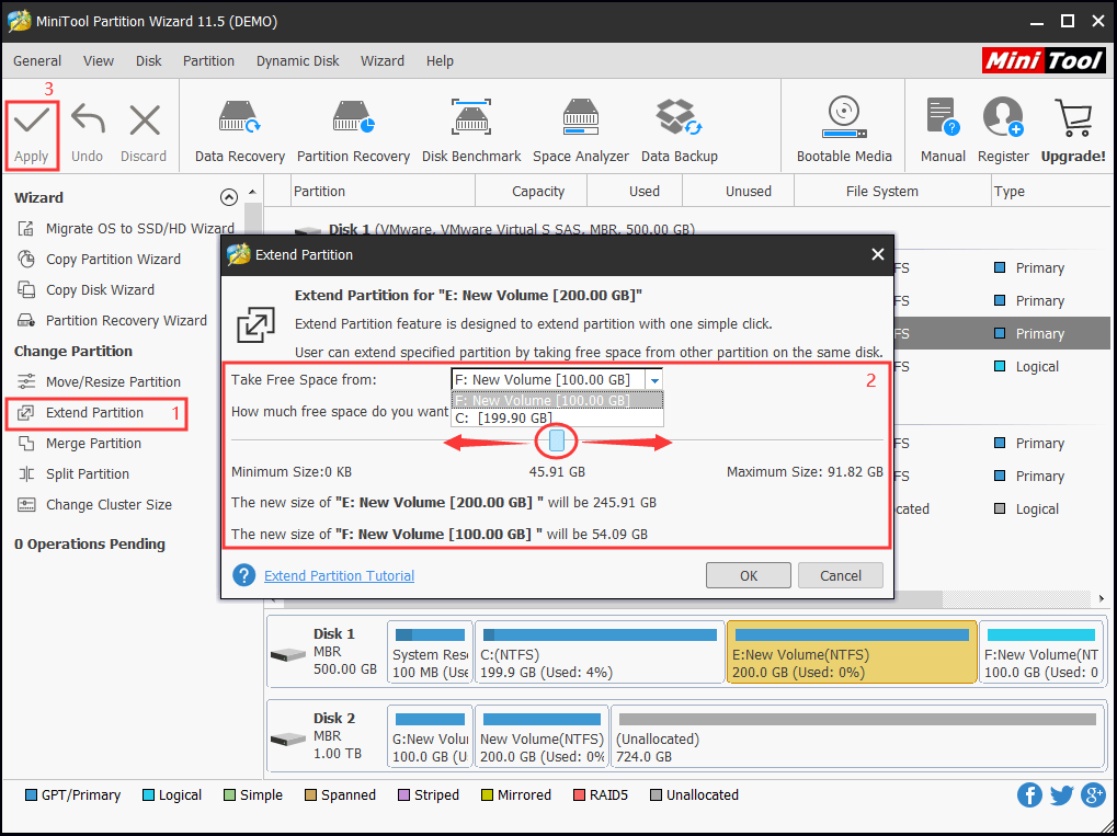 MiniTool Partition Wizard Extend Partition