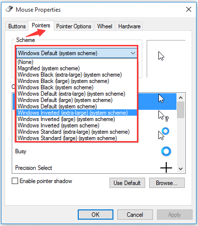 select a new pointer