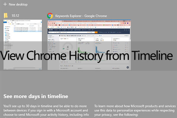 view Google Chrome activities on Windows 10 Timeline