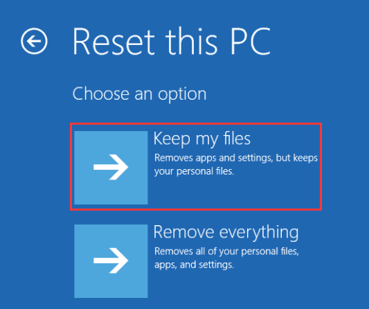click Keep my files to reset your PC