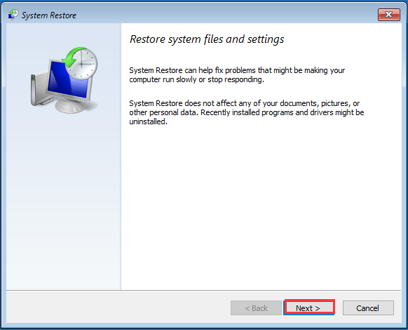 select the desired system restore point