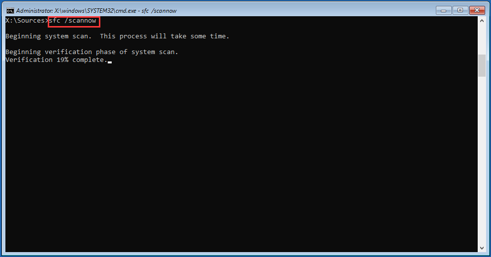 run sfc /scannow to replace corrupted system files