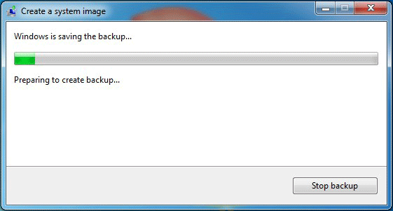 wait for Windows 7 to finish the backup