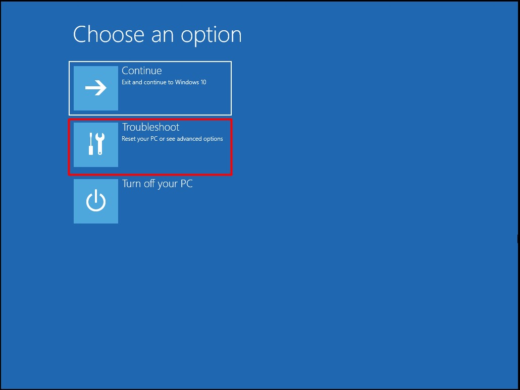 choose the troubleshoot option