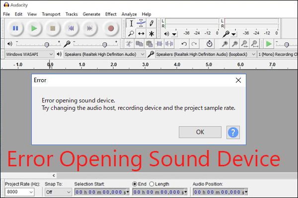 audacity error opening sound device thumbnail
