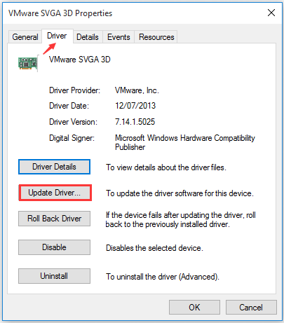 click Update Driver button