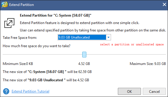 take free space from one partition or the unallocated space