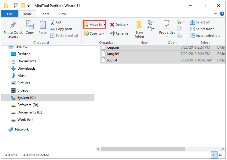 move files to another location