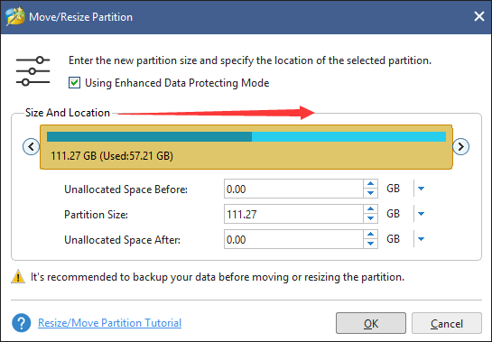 shrink a partition to create an unallocated space