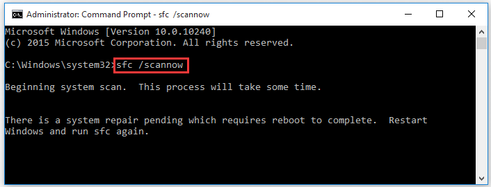 run sfc /scannow command