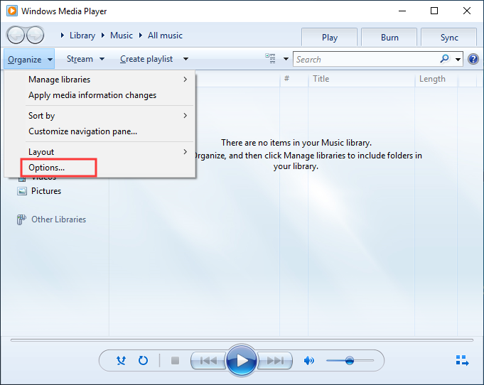 choose options in Windows Media Player