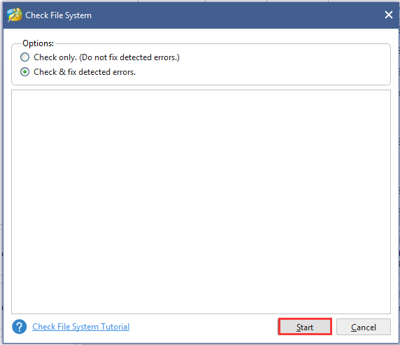 select Check & fix detected errors and click start