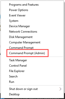 select Command Prompt (Admin)
