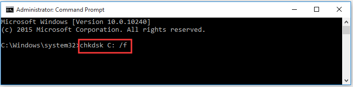 run chkdsk C: /f command