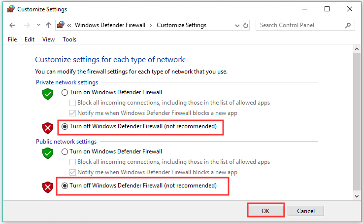 turn off the Windows Defender Firewall in private and public