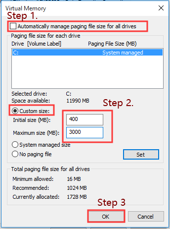 set the page filing size for all drives
