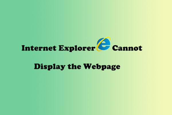 internet explorer cannot display the webpage thumbnail