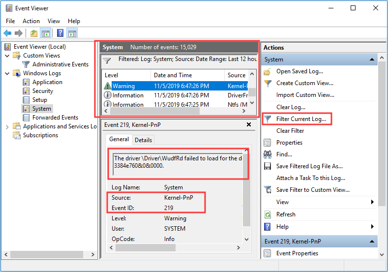 check Event Viewer