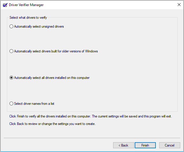 Automatically select all drivers installed on this computer