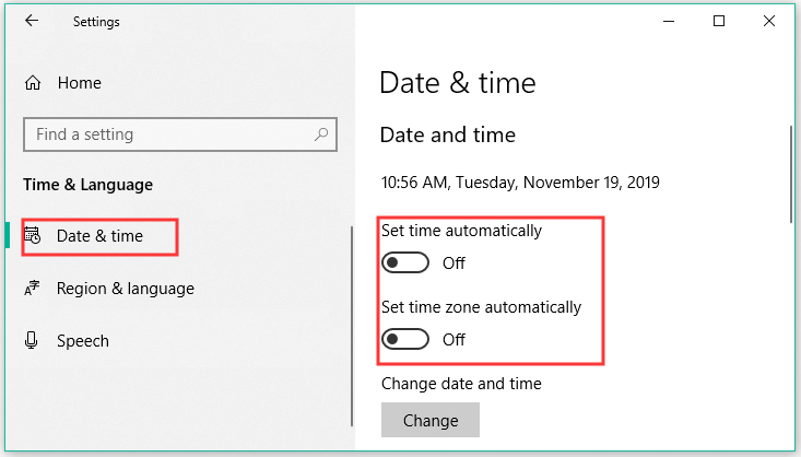 turn off the time and time zone automatically