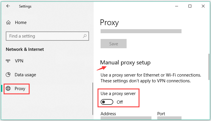 turn off the Use a proxy server section