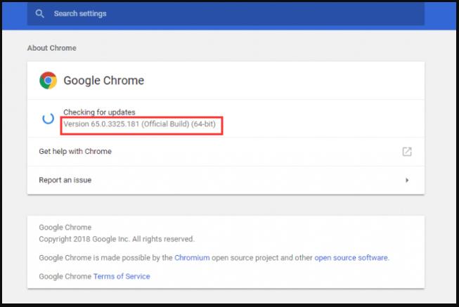 check your Google Chrome bit version