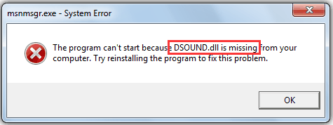 DSOUND.dll is missing