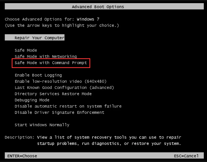 enable Safe Mode with Command Prompt