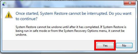 confirm the system restore process