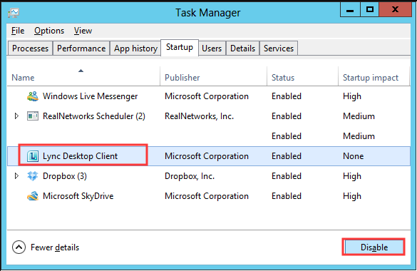 disable Lync application at the Startup
