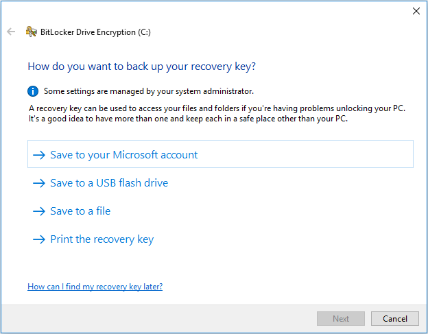 choose how to back up the recovery key