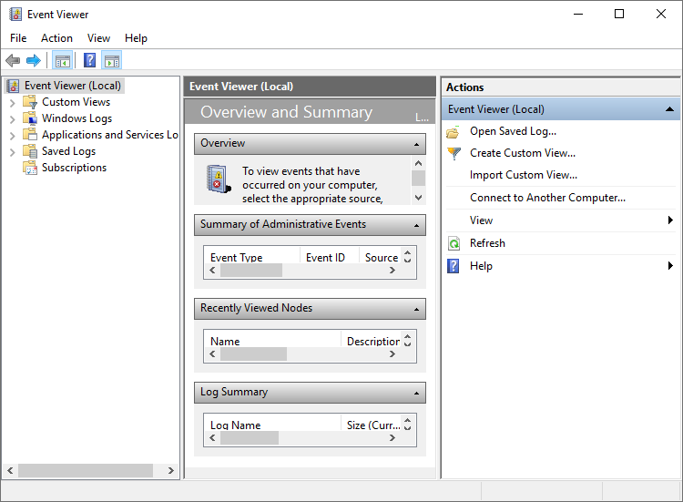the main interface of event viewer